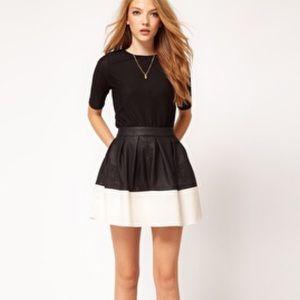 Asos faux leather color block white black skirt